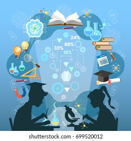Education infographic. Silhouette of boy and girl. Children study. Open book of knowledge school background effective modern education template design