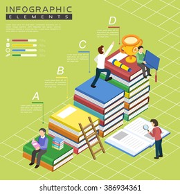 education infographic template design with book stairs element