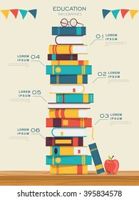 education infographic template design with books pile