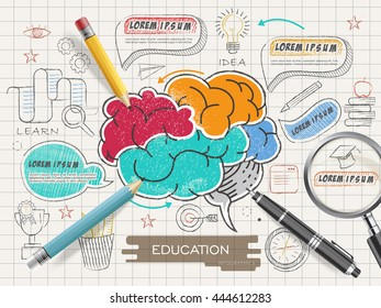 Education infographic template design with colorful brain in doodle style