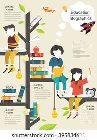 education infographic template design with reading tree and children