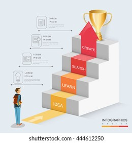 Education infographic template design with stairs and growing arrow