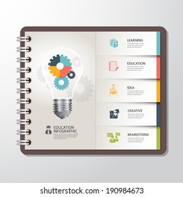 Education infographic Template with Light bulbs gear banner on paper book. concept vector illustration