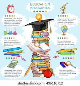 Education infographics template back to school stack of books vector illustration