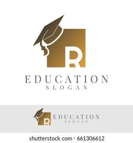 education initial Letter R Logo design