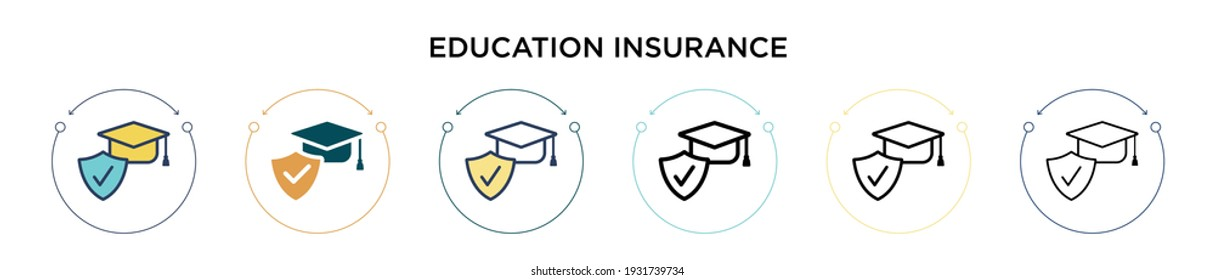 Education insurance icon in filled, thin line, outline and stroke style. Vector illustration of two colored and black education insurance vector icons designs can be used for mobile, ui, web