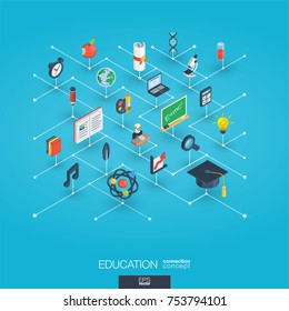Education integrated 3d web icons. Digital network isometric interact concept. Connected graphic design dot and line system. Abstract background for elearning, graduation and school. Vector Infograph