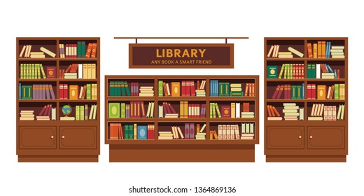 Education and knowledge library book shelves wooden furniture vector bookcase textbooks and novel volumes literature and science university or college studying and learning isolated indoor objects.
