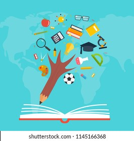 Education and knowledge pencil  tree over the opened book and world map, vector illustration. Back to school.