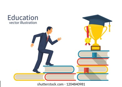 Education ladder concept. Young man goes to the top of the piles of books. Cup with an academic cap and a medal on top. Achievement goals in learning and success. Stairs knowledge.