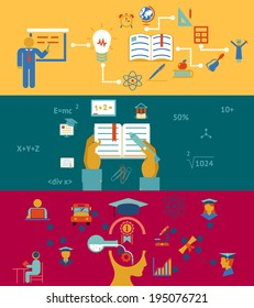 education and learning banners concept, acquisition of knowledge and accumulation of experience