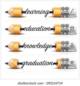 Education And Learning With Carve Lead Pencil Step Infographic Diagram Vector Design Template