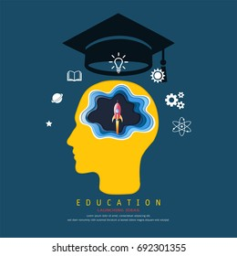 Education and learning concept, Brain thinking a launch space rocket flying, Above his head is a graduation cap and knowledge icons, Symbol of wisdom, and success (Paper art style)