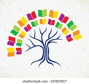 Education and learning concept with colorful abstract tree book. EPS10 vector file organized in layers for easy editing.