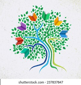 Education learning and growth concept with colorful abstract tree book illustration. EPS10 vector file organized in layers for easy editing.
