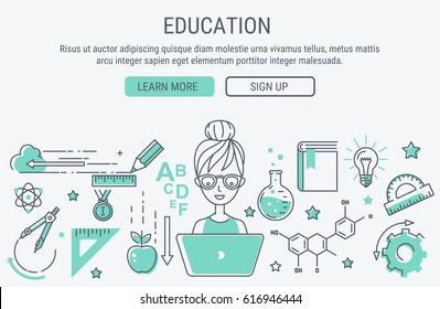 Education and learning. Line art modern vector illustration. Website header banner elements layout. Presentation, flyer and poster.