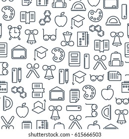 Education learning seamless pattern with lined school icons and elements on white background vector illustration