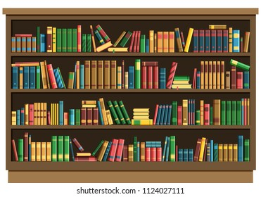 Education library book store concept. Vector illustration seamless pattern background retro bookshelf in flat style.Books on wooden bookshelf.