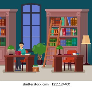 Education library with books or university athenaeum with bookshelves and stairs, atheneum with man librarian or student reading at desk. Reader studying. College and school, study and read theme