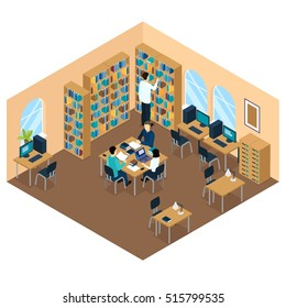 Education library isometric student composition preparing for the lesson or doing homework vector illustration