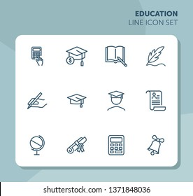 Education line icon set. Set of line icons on white background. Study concept. Bachelor, calculation, diploma. Vector illustration can be used for topics like university, college
