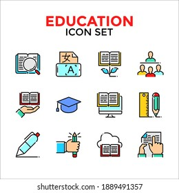Education line icon set, Solid line icon include search, translator, growth, lecture, study, tools, library, ebook, homework simple design illustration on white background