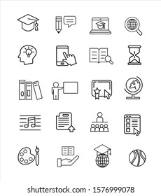 Education line icon set vector illustration
