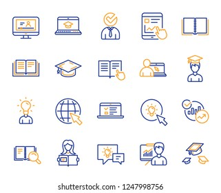 Education line icons. Laptop, Book and Video Tutorial icons. Graduation cap, Instructions and Presentation. Education or Lectures book, Charts and Idea. Laptop, tablet device. Video tutorial. Vector