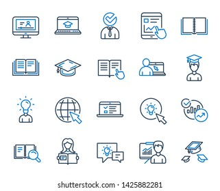 Education line icons. Laptop, Book and Video Tutorial icons. Graduation cap, Instructions and Presentation. College education or Lectures book, Charts and Idea. Laptop, video tutorial. Vector