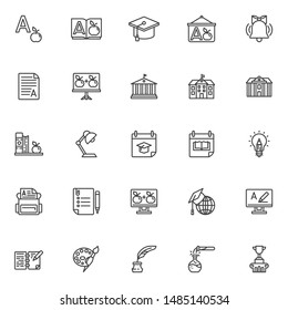 Education line icons set. Knowledge linear style symbols collection, outline signs pack. vector graphics. Set includes icons as Alphabet book letter, Graduation hat, Grade result A, School building