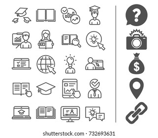 Education line icons. Set of Laptop, Book and Video Tutorial signs. Graduation cap, Instructions and Presentation. Internet Lectures, Charts and Idea symbols. Bonus classic signs. Editable stroke