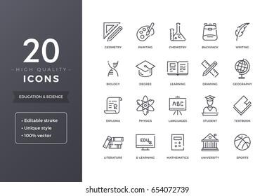 Symbole der Bildungslinie. Vektorsymbol für E-Learning und Schule mit bearbeitbarem Strich