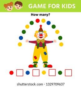 Education logic game for preschool kids. Clown. Children funny riddle entertainment.  Vector illustration