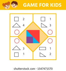 Education logic game for preschool kids. Kids activity sheet. Find the match of what shapes the square consists of. Children funny riddle entertainment. Vector illustration