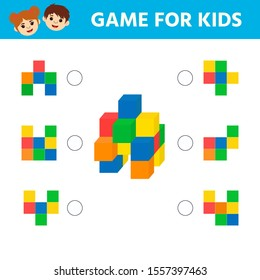Education logic game for preschool kids. Kids activity sheet. How many cubes in a figure. Children funny riddle entertainment. Vector illustration