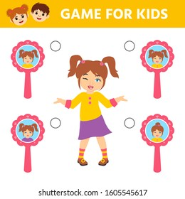 Education logic game for preschool kids. Kids activity sheet. Matching pairs.  Find the correct reflection of cute girl in the mirror. Children funny riddle entertainment.