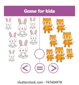 Education logic game for preschool kids. Choose the correct answer. More, less or equal Vector illustration.