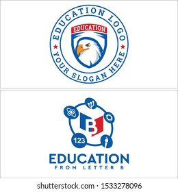 Education logo with eagle head star circle icon book tech gear torch painting brush vector suitable for student private school teacher