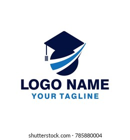 Education logo with finance corporate shape abstract.