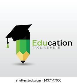 education logo with graduation hat bachelor cap and pencil flat design