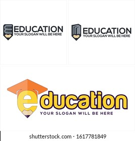 Education logo with grey orange yellow pencil book graduation hat lettering combination icon vector suitable for kids school student private company