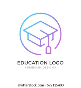 Education logo. Mortarboard, square academic cap, graduation hat icon. Premium design. Trendy linear style. Abstract concept. Simple round line icon isolated on white background. Modern vector logo
