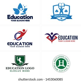 Education logo with people book star and horse holding a torch suitable for school private teacher business institution kindergarten