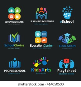 Education logo set design for school, learning, creative idea, kids arts, media, music  vector template.
