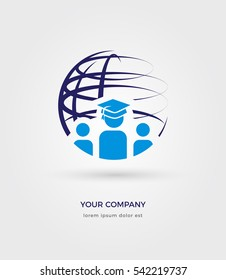 EDUCATION LOGO TEMPLATE, KNOWLEDGE, GRADUATION CAP, GLOBE, GLOBAL EDUCATION LOGO