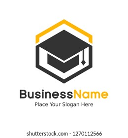 Education Logo Template. Modern education vector logo with students hat. This logo is suitable for school, students, brain, graduate, brain, thinking.