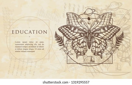 Education. Magic butterfly. Renaissance background. Medieval manuscript, engraving art