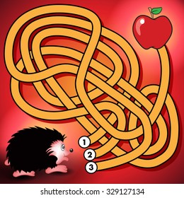 Education maze or labyrinth game for preschool children with hedgehog and apple. Vector illustration