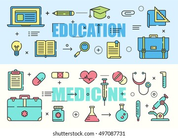 Education and Medicine flat thin line design banners. Vector concept elements and icons.