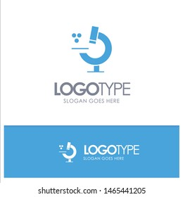 Education, Microscope, Science Blue Solid Logo with place for tagline. Vector Icon Template background